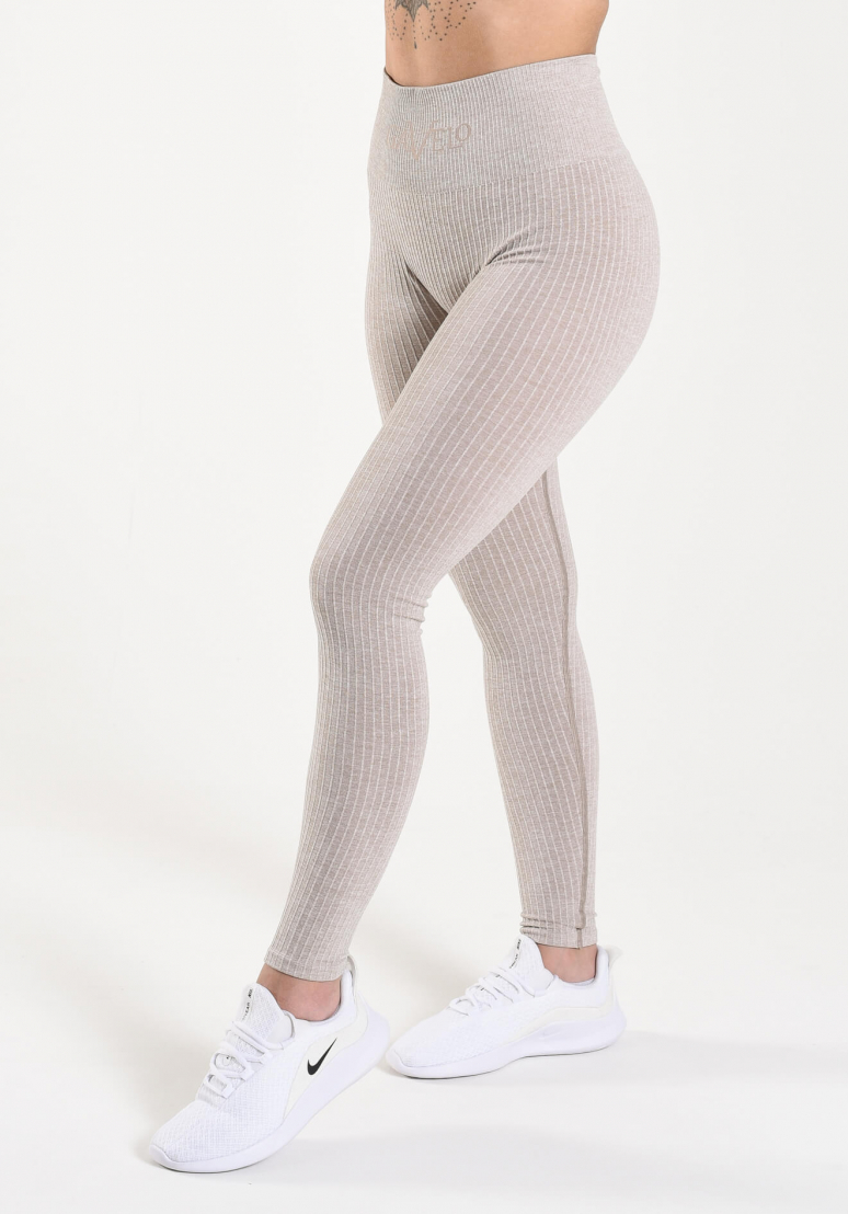 Seamless Ribbed Tights - Sand