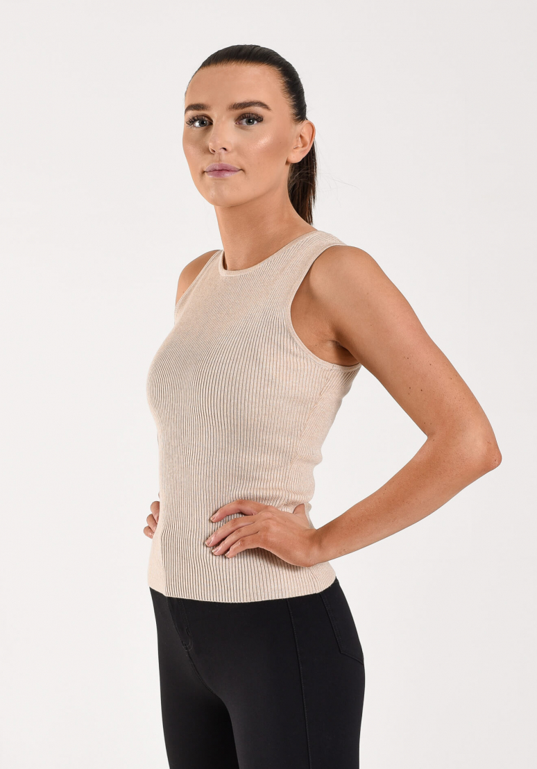 Knitted Tank Top - Beige