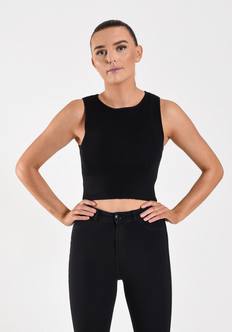Knitted Crop Top - Black