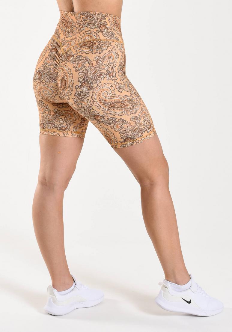 Paisley Scrunch Shorts - Sand