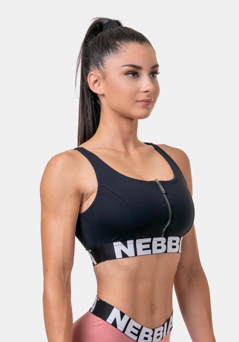 Smart Zip Sports Bra - Black