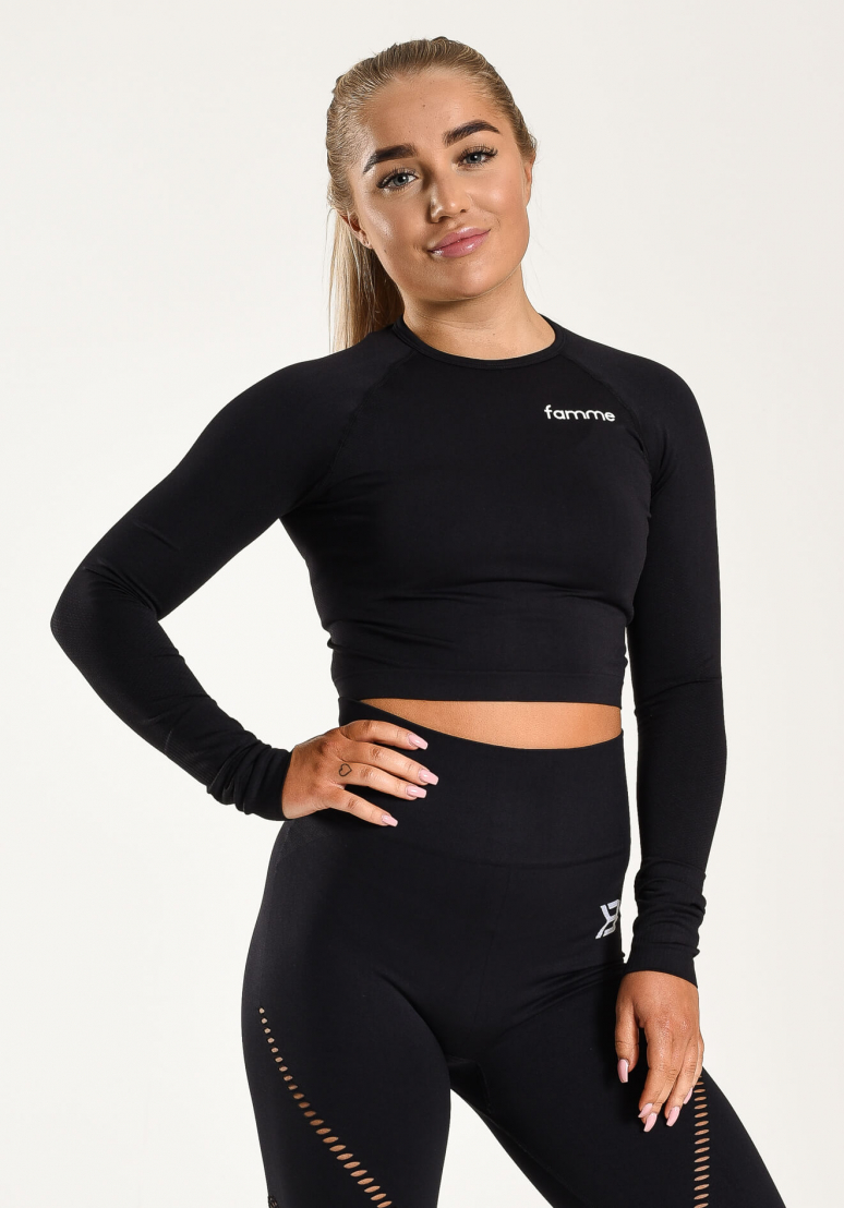 Ocean Crop Long Sleeve - Black